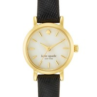 Women's kate spade new york 'tiny metro' leather strap watch, 20mm - Black