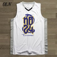 OLN Mens Basketball Jersey 24 Kobe Bryant Printing Uniforms Sports Sets Top Quality White Breathable Training Shirts Shorts