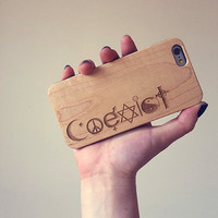 Coexist Wood Phone Case - Peace Engraved iPhone Case - iphone 4/4s 5/5s 5C 6 cover religion