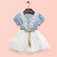 Baby Girls One piece Dress Lace Button Belt Short Sleeve Clothes Dresses   Arrival