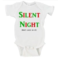 Silent Night Don't Count On It! Merry Christmas Gerber Onesuit ®