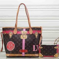 Perfect Louis Vuitton Women Fashion Leather Satchel Shoulder Bag Handbag Crossbody Two Piece Set