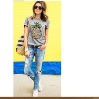 SIMPLE - Floral Printed Round Necked Short Sleeve T-Shirt a11825