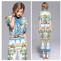 Women Casual Fashion Retro Totem Print Sweater Short Sleeve Trousers Set Two-Piece