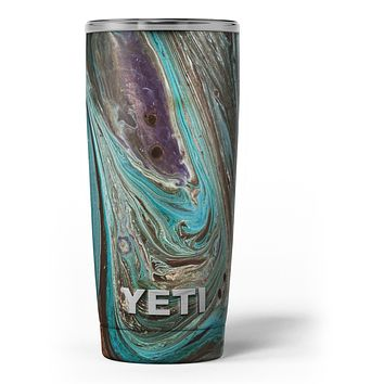 Swirling Dark Acrylic Marble - Skin Decal Vinyl Wrap Kit compatible with the Yeti Rambler Cooler Tumbler Cups