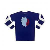 Bravest Warriors Catbug Chenille Patch Knitted Blue & White Striped Sweater