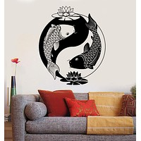 Vinyl Wall Decal Yin Yang Tai Lotus Chinese Philosophy Zen Fish Stickers Unique Gift (ig3606)