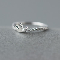 Fashion zircon crown 925 Sterling Silver ring, a perfect gift