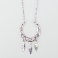 Full Tilt Leaf Drop Necklace Silver One Size For Women 25592814001
