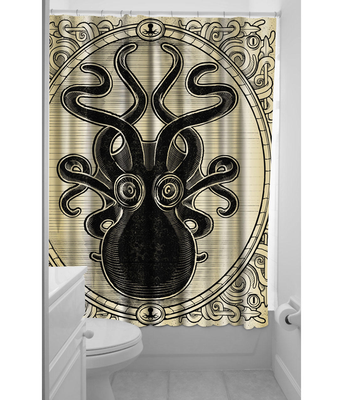 Black toile shower curtain - Cream Black Kraken Up Shower Curtain From Unique Vintage