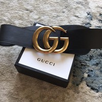 Authentic Black Wide Gucci belt with doubles G's- 34 ins/ 90 cm