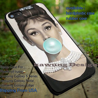 Audrey Hepburn Bubble Gum Painting iPhone 6s 6 6s+ 5c 5s Cases Samsung Galaxy s5 s6 Edge+ NOTE 5 4 3 #movie #actrees #adh dt