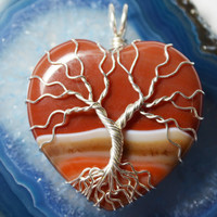 Tree of Life pendant Heart Tree of Life Carnelian Agate Sterling Silver Wire Wrapped Valentines Tree Heart Stone Necklace Red