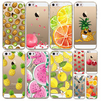 Case Cover For iphone 4 4s 5C 5 5s SE Fruits Pineapple Watermelon Cherry Painted  Transparent TPU Silicon Luxury Phone Cases