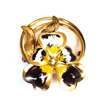 Cart Art 12kt gold filled pansy circle brooch signed vintage mid Century pin up 1950's