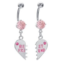 Pink Sparkle Best Friend Charm Pendant Belly Ring