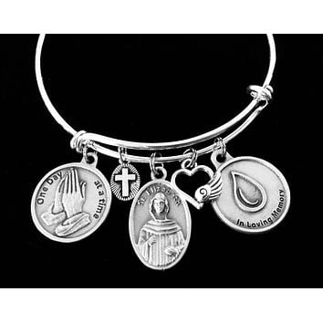In Loving Memory Saint Elizabeth Ann Seton Charm Bracelet Patron Saint of Grief Adjustable Expandable Silver Bangle Memorial Jewelry One Size Fits All Gift One Day at a Time