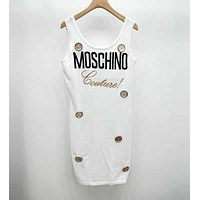 MOSCHINO Popular Women Slim Sleeveless Big Gold Button Vest Dress White