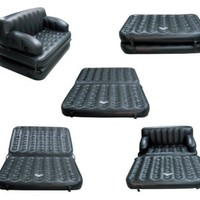 Quick Luxe (TM) Multi Functional Inflatable Fun Sofa with Queen Size Pullout Mattress in Black (Universal Pump Included)