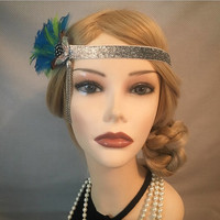 1920s art deco flapper style headpiece headband silver green teal turquoise elastic tassel head band 20s gatsby wedding vintage 20's (700)