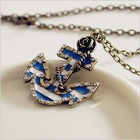 Fashion Vintage Bronze Chain Anchor Shape Pendant Long Chain Necklace Clothes