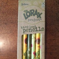 NEW The Lorax Project box of 6 hb #2 lead BASSWOOD Pencils Dr. Seuss The Lorax