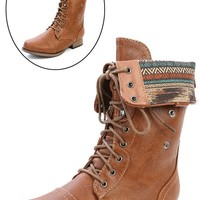 Wild Diva Lounge Jetta-25f Whiskey Two Way Aztec Cuff Lace Up Combat Boots and Shop Boots at MakeMeChic.com