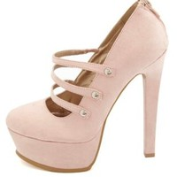 Qupid Triple Mary Jane Platform Pumps by Charlotte Russe