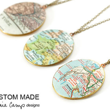 Personalized Map Necklace, Custom City, Large Vintage Locket, Map Jewelry, Holiday Gift, Gift Under 40 - Made to Order
