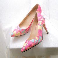 Pointed Toe High Heel Camouflage Shoes [4920623940]