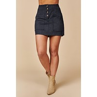 Look At You Buttoned Suede Mini Skirt (Navy)