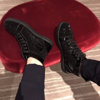Sale Christian Louboutin CL Louis Strass Men's Flat Black Shoes