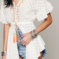 Free People Womens Neon Embellished Lace Jacket -