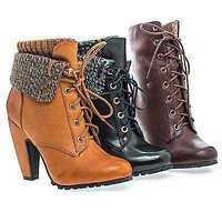 Mozza19L by Bamboo, Knitted Folded Cuff Lace Up Block Heel Lug Sole Ankle Bootie