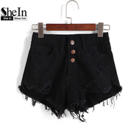 SheIn Hot Short Jeans Women's Casual Brief Stylish Trousers Black Buttons Ripped Fringe Dual Pockets Denim Shorts