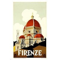FLORENCE vintage poster HISTORIC CELEBRATED COLORFUL international 24X36