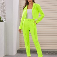 Neon Green Lapel Collar Blazer & Tailored Pants Set