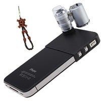 OKEBA 60x LED Pocket Microscope Lens Camera Lens Adjustable Loupe with LED Light For iPhone 4/4S(60X Magnification, 2 LEDs, 1 UV Light), Ideal for Jewelry Coins Stamps Antiques + One Cool Skull Key Chain Charm Strap At Random Color