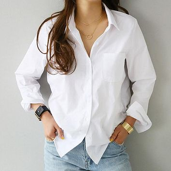 Spring One Pocket Women's Shirt Feminine Blouse Top Long Sleeve Casual White Turn-down Collar