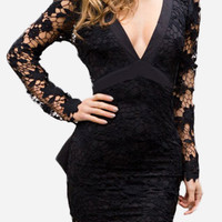 Black Low Neck Dress with Lace Sleeve Design