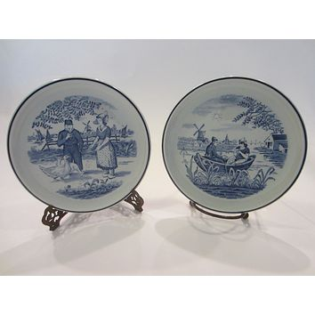 Blue White Dutch Windmill Plates Made For Royal Sphere Holland By Boch Delfts Belgium