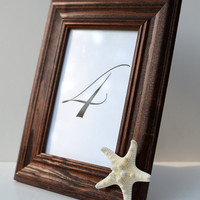 """Knobby Star Fish Sea Shell Dark Brown Solid Wood 4x6"""" Inch Picture Frame-Minimalist Chic Beach Wedding Table Number Coastal Home Photo Decor"""