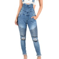 Women's Biker Denim Overalls