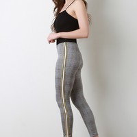 Glen Plaid Sporty Side Striped Fitted Pants