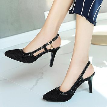 Women's High-heeled Buckle Straps Hollow Pointed Toe Stiletto Heel Sandals