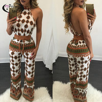 2016 New Arrival Women Jumpsuits Rompers Sexy Female Long Pants Rompers Female Halter neck Cross Bodysuit Brand print outfits