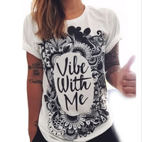 Black and white fashion letter loose printing T-shirts