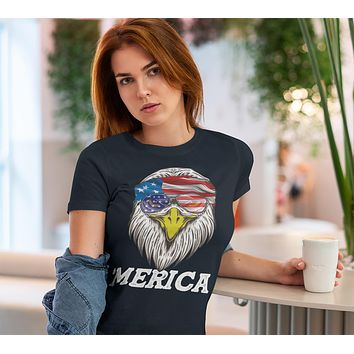 Women's Funny 4th July T Shirt Merica Shirt Eagle Head Band Shirt Patriotic America Shirt Bandana Flag Shirt Hipster Shirt