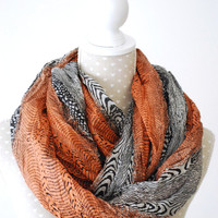 Multi-colored LEOPARD Print Infinity Scarf Burnt Orange and GRAY Loop Scarf with Leopard Heart Print Great with your outfit