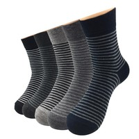 5 Pairs/Lot Business Cotton Socks Men Casual Striped Socks Breathable Comfortable Sweet Gift for Male Husband Father
